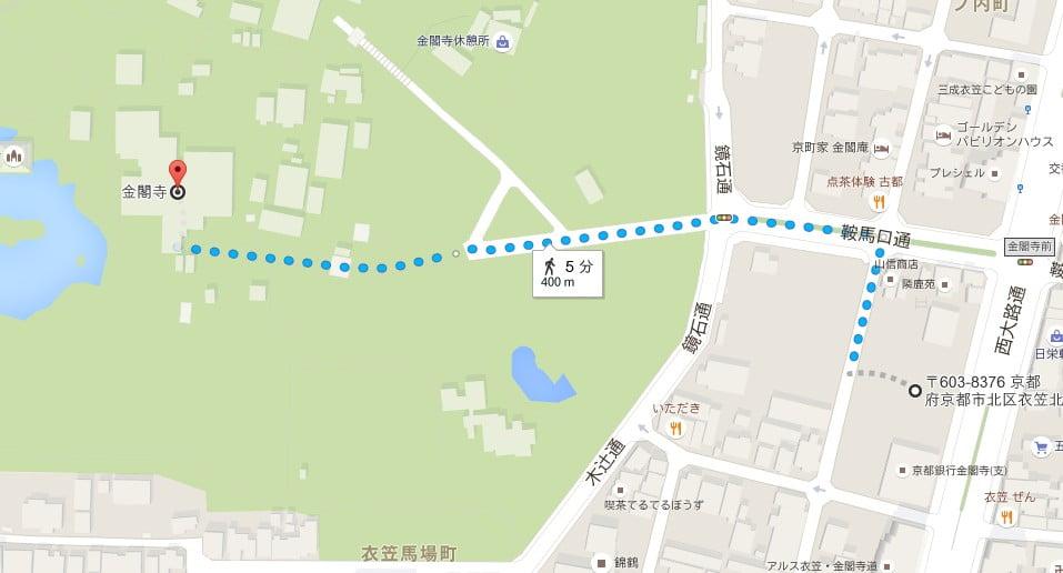 金閣寺・第3駐車場の場所(住所)