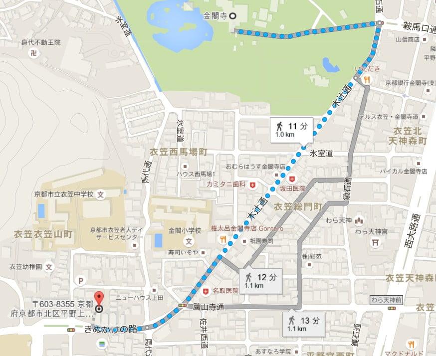 「金閣寺 上柳町駐車場」の地図