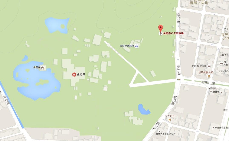 金閣寺の周辺・付近のバス駐車場「金閣寺第1駐車場」