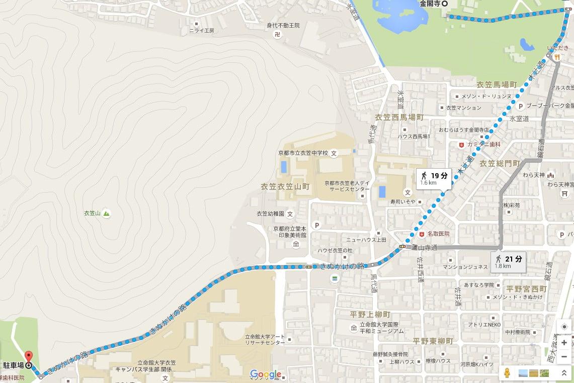 竜安寺駐車場から金閣寺へのアクセス・行き方